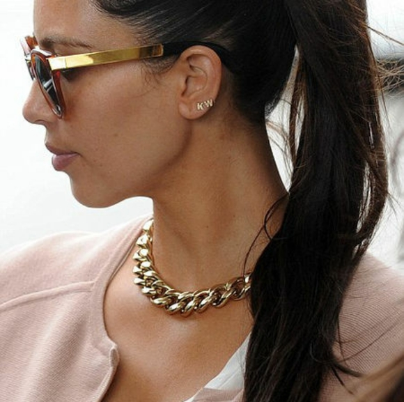 Vintage Jewelry - Vintage Chunky Gold Chain Link Collar Necklace